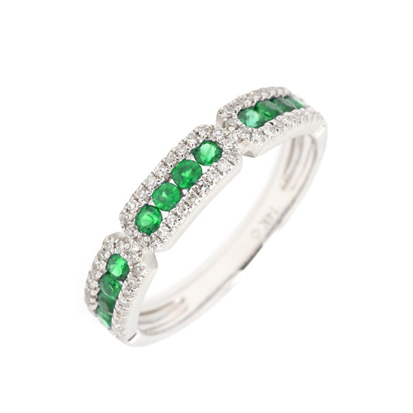 14Kt White Gold Emerald and Diamond Stackable Ring