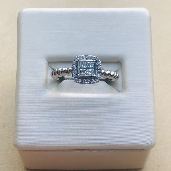 14Kt White Gold Twisted Band Diamond Engagement Ring