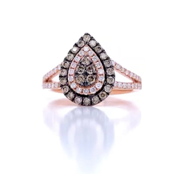 Rose gold & Champagne diamonds ring