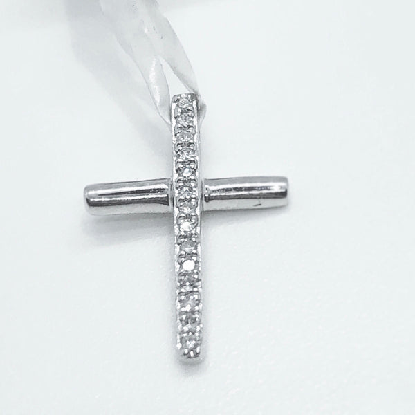Diamond Baby Cross Pendant .04 CTW 14KT W