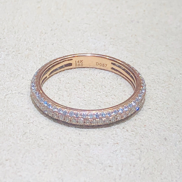 Eternity 7/8  0.57ctw 14Kt Rose Gold Pave Band