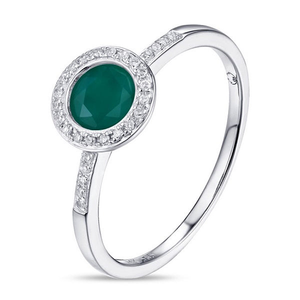14Kt White Emerald corundum and Diamond Ring