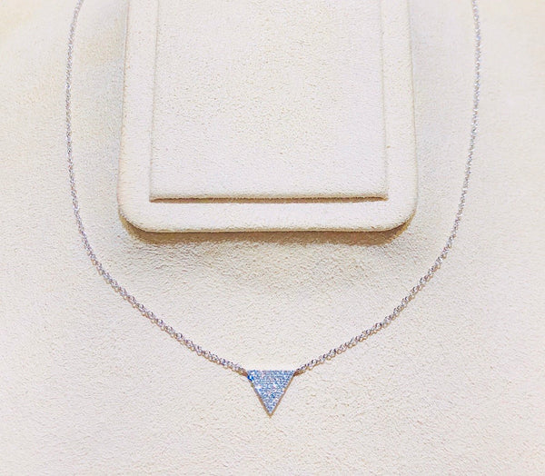 Modern White Gold and Diamonds Triangle Necklace