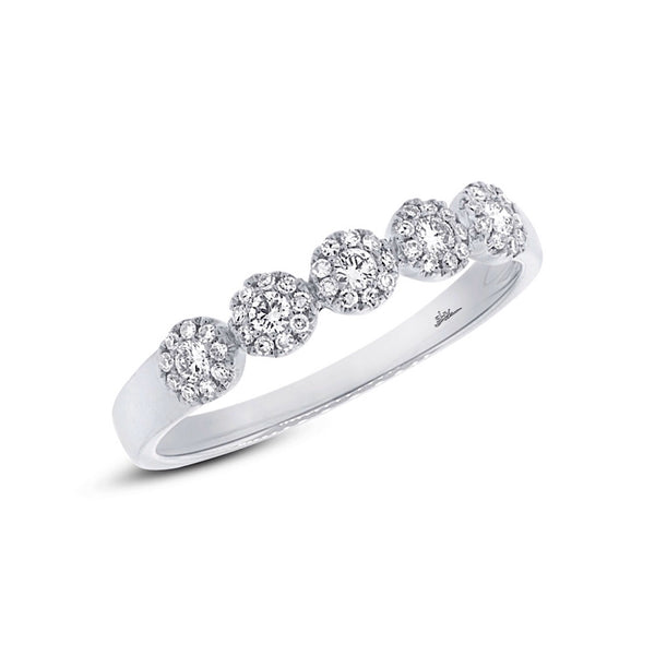 0.57 CTW Diamond Five Flower Cluster Frame Wedding Band