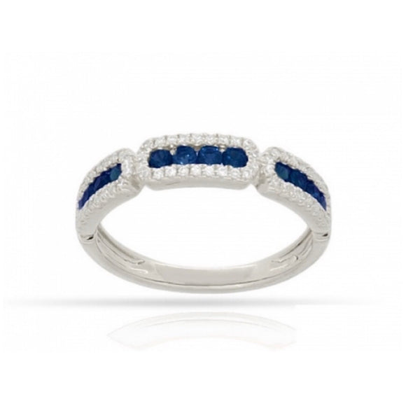 14Kt White Gold Sapphire and Diamond Stackable Ring