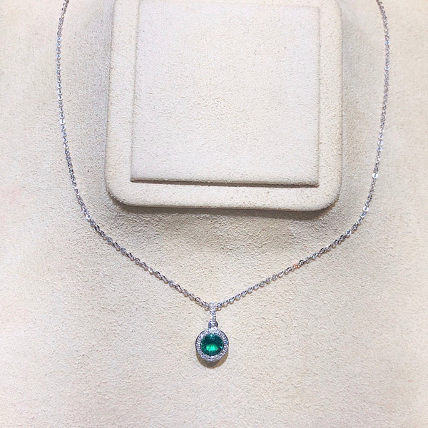 14Kt White Gold Emerald Necklace