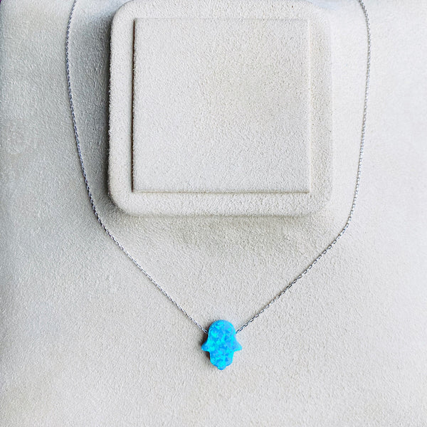 Blue Opal Hamsa Necklace With Silver Chain