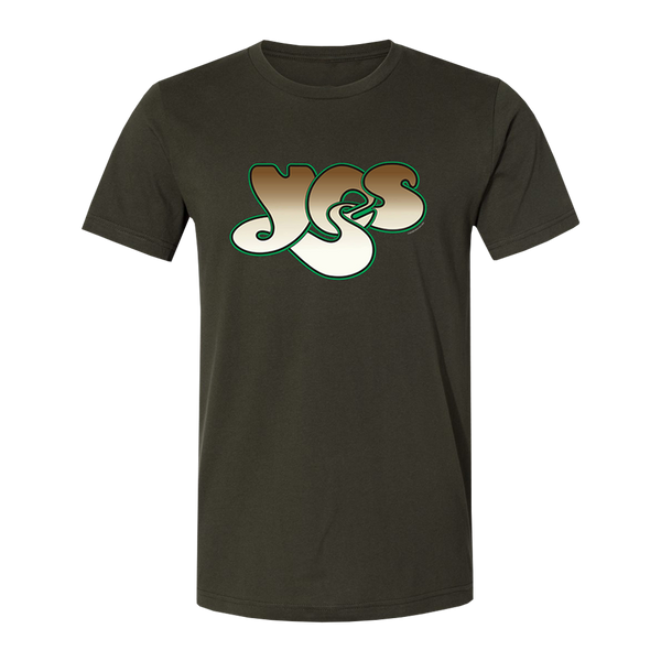 YES Brown and Tan logo olive t-shirt printed on Bella + Canvas