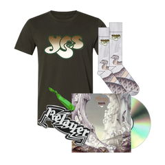 YES Relayer bundle includes sound chaser socks, relayer ornament, relayed CD and olive logo tee