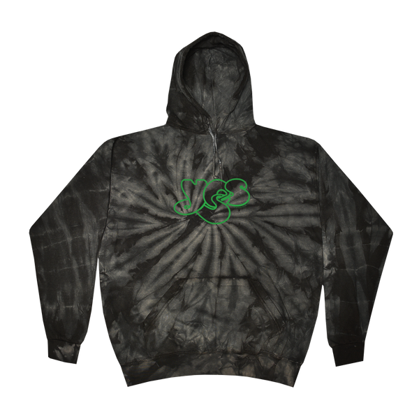 YES green embroidered logo hoodie printed on Colortone in spider black tie dye