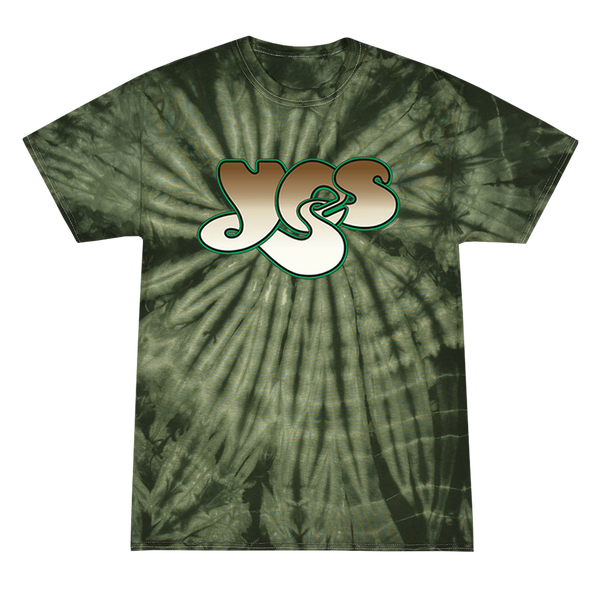 YES Logo tee printed on Colortone in green spider tie dye