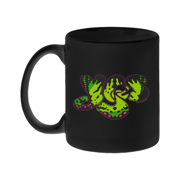 YES monarch logo black ceramic mug