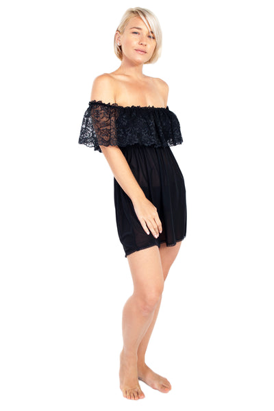Up All Night Off The Shoulder Nightie and Panty Set - Rhonda Shear