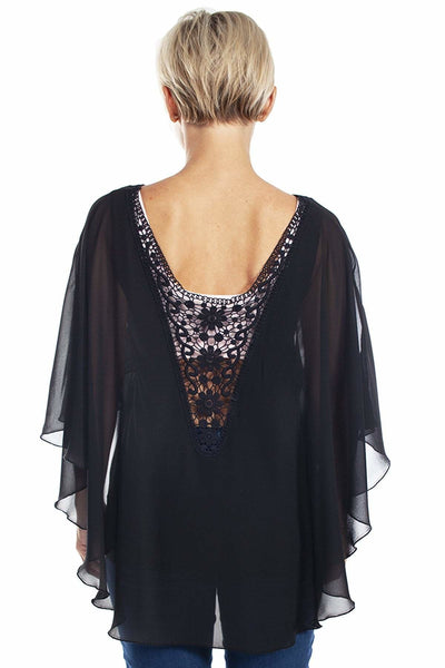 Chiffon Caftan with Crochet Back - Black / 2/3X - Apparel