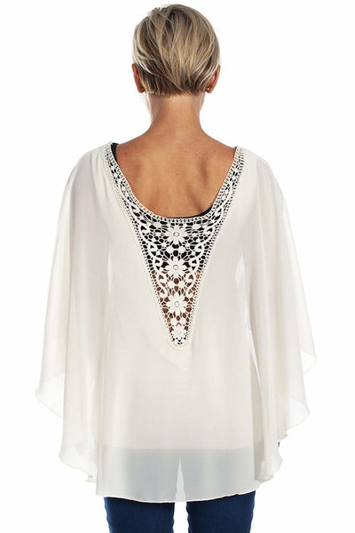 Chiffon Caftan with Crochet Back - Bone White / 2/3X - Apparel