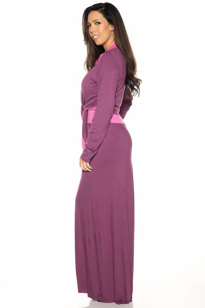 Contrast Long Sleeve Shrug-FINAL SALE - Plum / S - Apparel