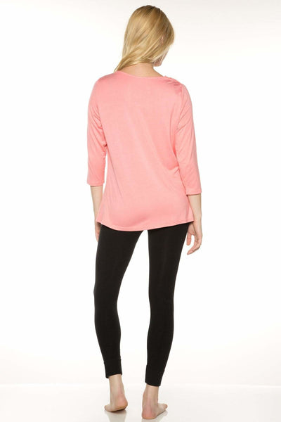 Cowl Neck 3/4 Sleeve Top - Rhonda Shear