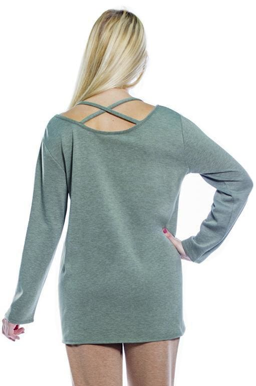 Cozy Criss Cross Back w. Knot Hem - Rhonda Shear