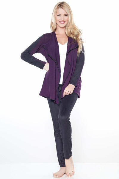 Faux Suede Trim Wrap - Eggplant / M - Apparel