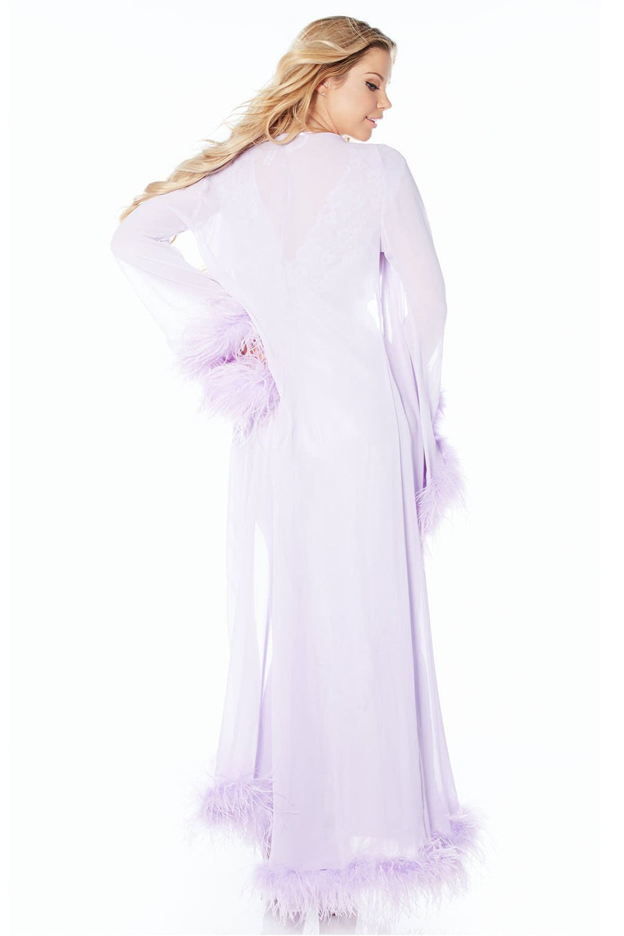 Harlow Ostrich Trim Robe-FINAL SALE - Rhonda Shear