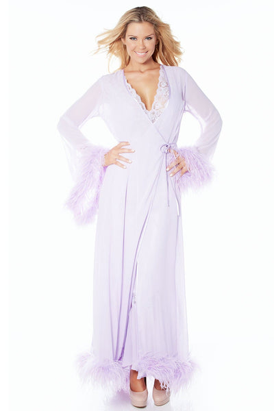 Harlow Ostrich Trim Robe-FINAL SALE - Lavender / L - Intimates