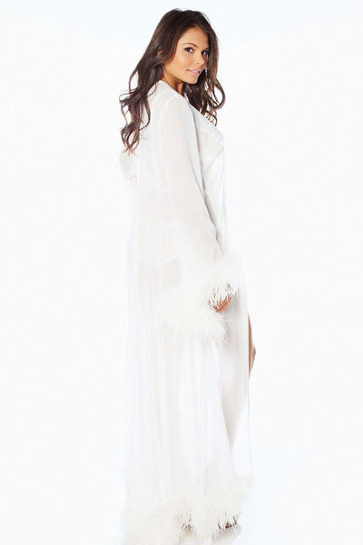 Harlow Ostrich Trim Robe-FINAL SALE - White / L - Intimates
