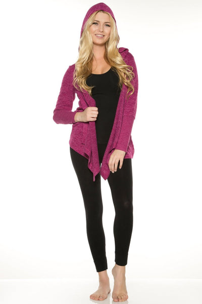 Hooded Sweater Wrap - Magenta / S - Apparel