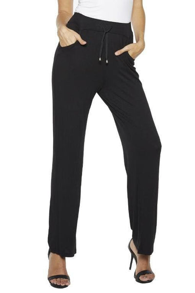Jersey Knit Lounge Pant with Chiffon Trim - Rhonda Shear