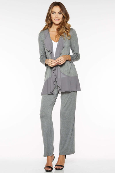 Jersey Knit Lounge Pant with Chiffon Trim - Charcoal / S - Apparel