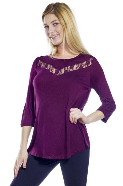 Lace Inset Top - Burgundy 18 / S - Apparel