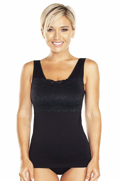 Lace Overlay Seamless Tank with Shelf Bra - Black / 1X - Intimates