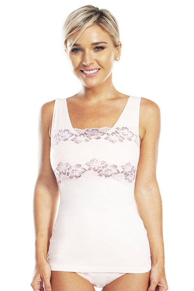 Lace Overlay Seamless Tank with Shelf Bra - Pink/ Mocha / 1X - Intimates