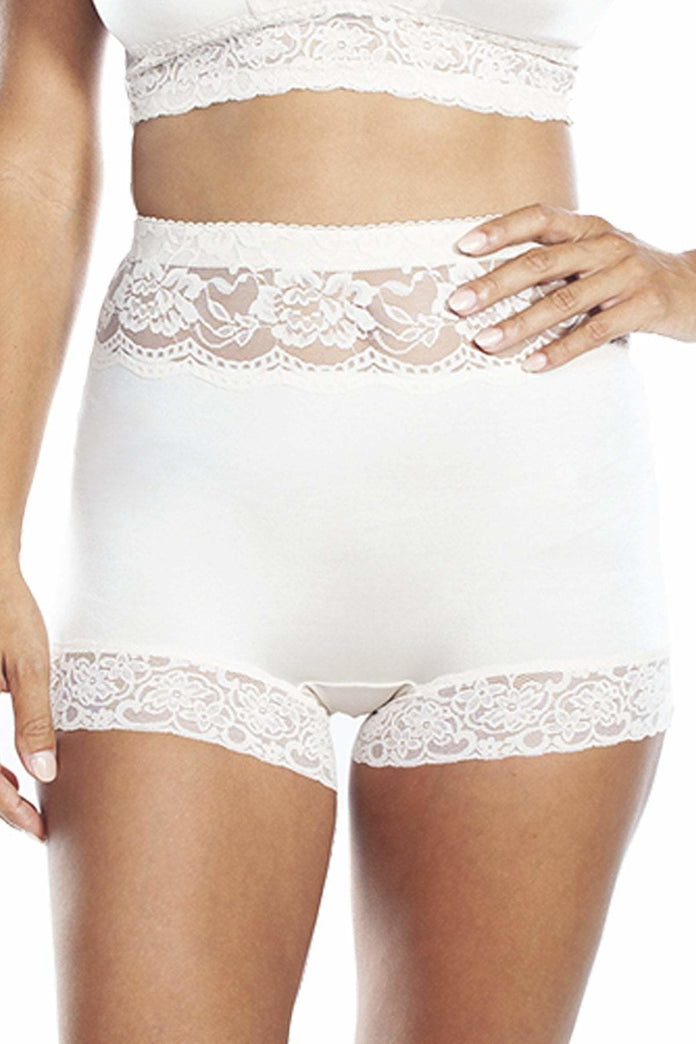 Rhonda Shear Light Nude Smooth Pin-up Back Lace Trim Brief Panty New
