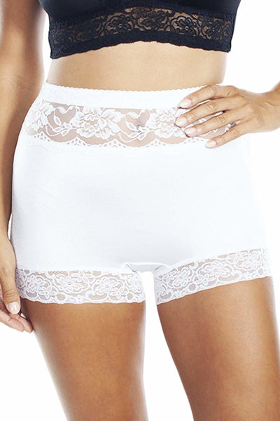 Lace Trim Pin Up Panty - White / 1X - Intimates
