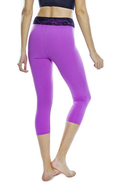 Lace Waist Capri Legging - Apparel