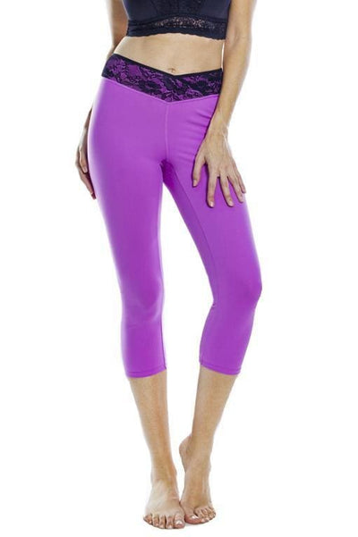 Lace Waist Capri Legging - Orchid Bloom Top / S - Apparel
