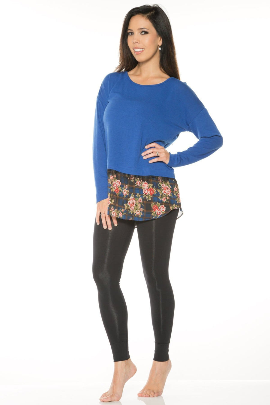 Long Sleeve Printed Chiffon Hem Sweater - Rhonda Shear