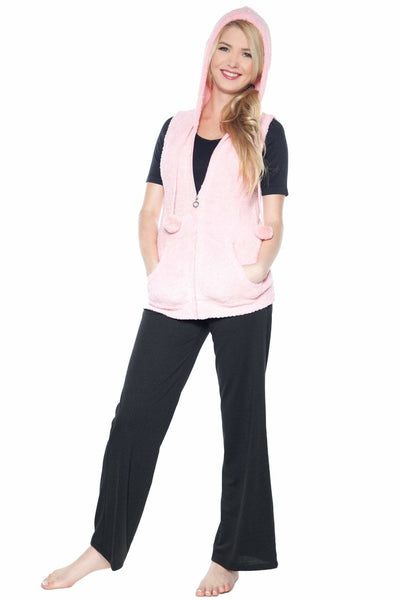 Marshmallow Zip Front Vest with Hood - Rhonda Shear