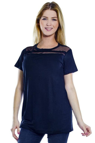 Mesh Inset Top - Black / S - Apparel
