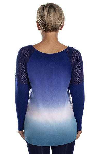 Ombre Net Mesh Inset Top - Blue Multi / 1X - Apparel