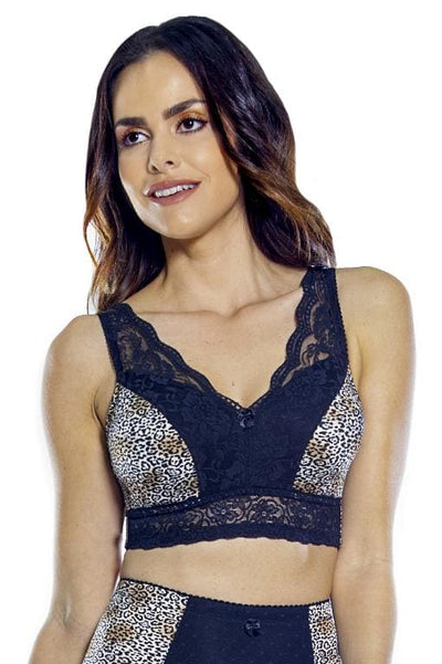 PinUp Girl Lace Leisure Bra w/Pads: Sale Colors - Black Leopard / 1X - Intimates
