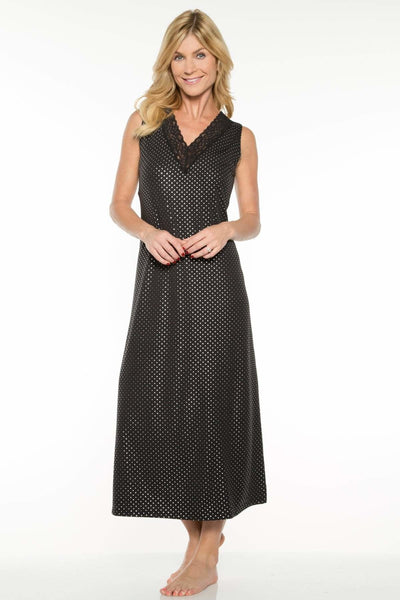Printed Long Gown - Black Silver Dot / S - Sleep