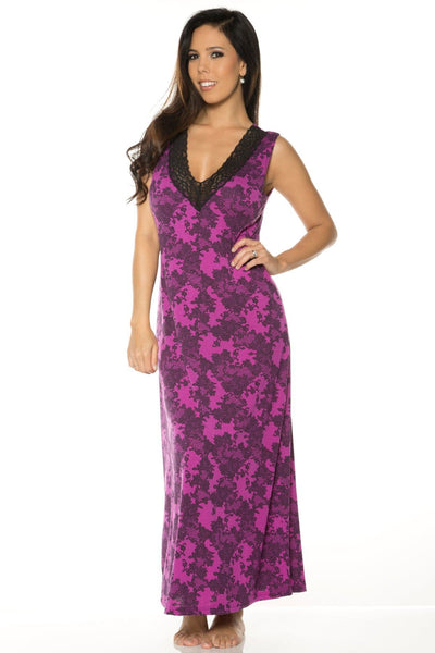 Printed Long Gown - Magenta Black Lace Print / M - Sleep