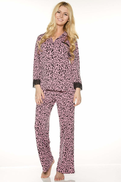 Printed PJ Set - Leopard Pink / S - Sleep