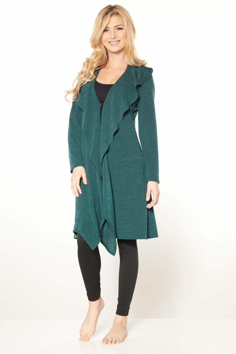 Ruffle Sweater Duster Jacket - Rhonda Shear