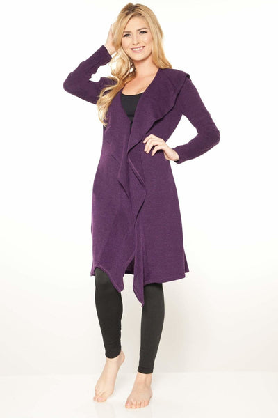 Ruffle Sweater Duster Jacket - Purple-6523 / S - Apparel