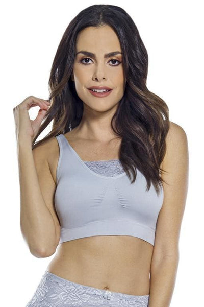 Seamless Bra with Lace Inset
