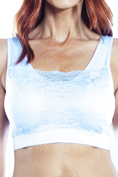 Seamless Bra with Lace Overlay - Soft Blue / 1X - Intimates