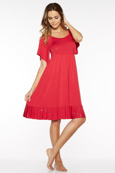 Shimmer Sleep Gown - Red / S - Sleep