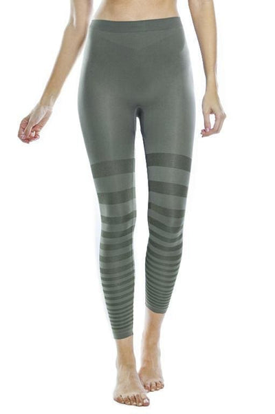 Tonal Striped Seamless Legging - Olive 18 / S - Apparel
